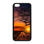 Lonely Tree Sunset Wallpaper Apple iPhone 5C Seamless Case (Black) Front