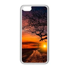 Lonely Tree Sunset Wallpaper Apple iPhone 5C Seamless Case (White)