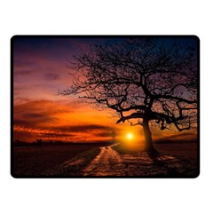 Lonely Tree Sunset Wallpaper Double Sided Fleece Blanket (Small)