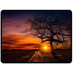 Lonely Tree Sunset Wallpaper Double Sided Fleece Blanket (large)
