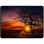 Lonely Tree Sunset Wallpaper Double Sided Fleece Blanket (Large)  80 x60  Blanket Back