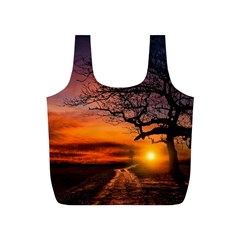 Lonely Tree Sunset Wallpaper Full Print Recycle Bag (S)