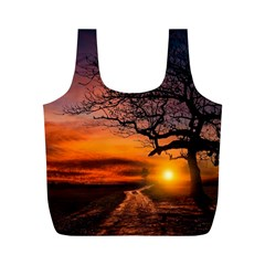 Lonely Tree Sunset Wallpaper Full Print Recycle Bag (M)