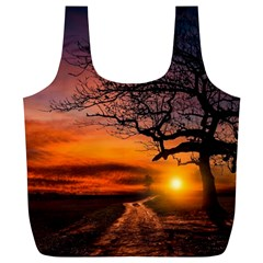 Lonely Tree Sunset Wallpaper Full Print Recycle Bag (XL)