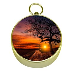 Lonely Tree Sunset Wallpaper Gold Compasses