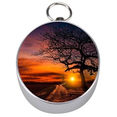 Lonely Tree Sunset Wallpaper Silver Compasses