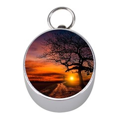 Lonely Tree Sunset Wallpaper Mini Silver Compasses