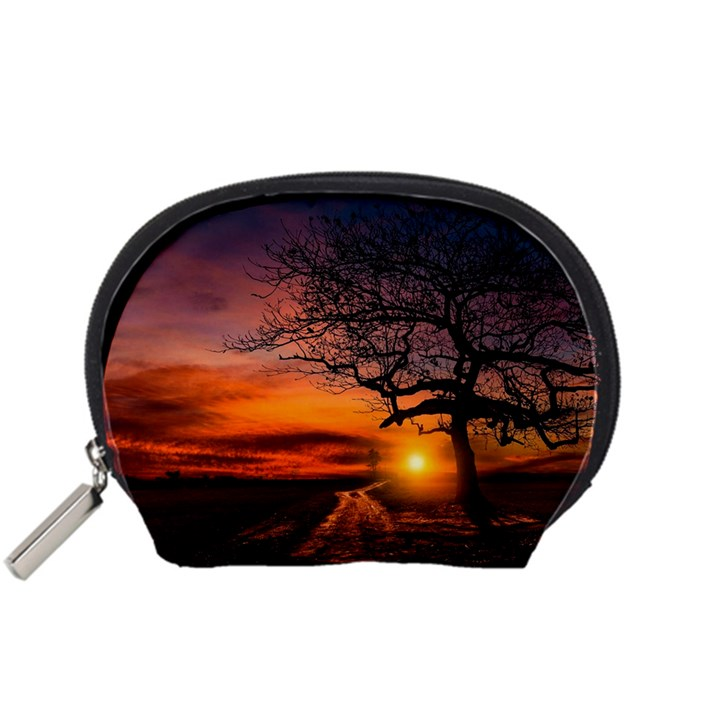 Lonely Tree Sunset Wallpaper Accessory Pouch (Small)