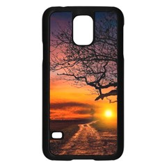 Lonely Tree Sunset Wallpaper Samsung Galaxy S5 Case (Black)