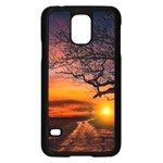 Lonely Tree Sunset Wallpaper Samsung Galaxy S5 Case (Black) Front