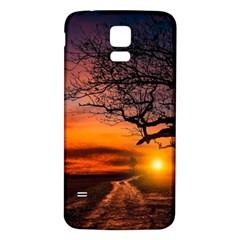 Lonely Tree Sunset Wallpaper Samsung Galaxy S5 Back Case (white) by Alisyart