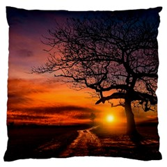 Lonely Tree Sunset Wallpaper Large Flano Cushion Case (Two Sides)