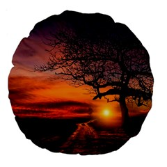Lonely Tree Sunset Wallpaper Large 18  Premium Flano Round Cushions