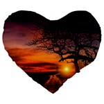 Lonely Tree Sunset Wallpaper Large 19  Premium Flano Heart Shape Cushions Front