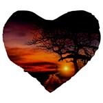 Lonely Tree Sunset Wallpaper Large 19  Premium Flano Heart Shape Cushions Back