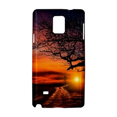 Lonely Tree Sunset Wallpaper Samsung Galaxy Note 4 Hardshell Case by Alisyart