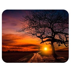 Lonely Tree Sunset Wallpaper Double Sided Flano Blanket (Medium)