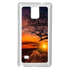 Lonely Tree Sunset Wallpaper Samsung Galaxy Note 4 Case (white)