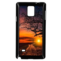 Lonely Tree Sunset Wallpaper Samsung Galaxy Note 4 Case (black) by Alisyart