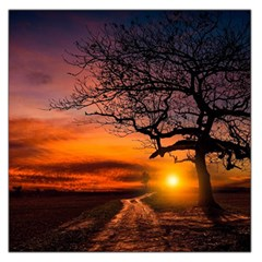 Lonely Tree Sunset Wallpaper Large Satin Scarf (Square)