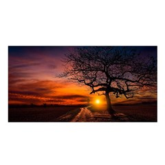 Lonely Tree Sunset Wallpaper Satin Shawl