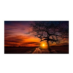Lonely Tree Sunset Wallpaper Satin Wrap