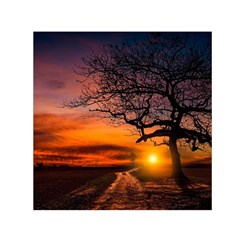 Lonely Tree Sunset Wallpaper Small Satin Scarf (Square)