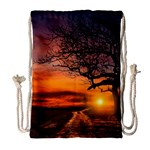 Lonely Tree Sunset Wallpaper Drawstring Bag (Large) Front