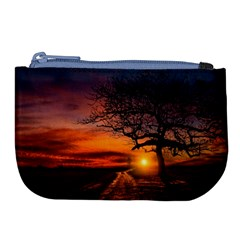 Lonely Tree Sunset Wallpaper Large Coin Purse