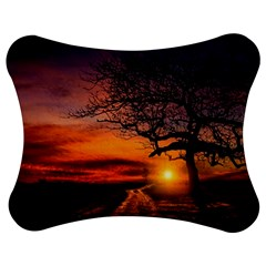 Lonely Tree Sunset Wallpaper Jigsaw Puzzle Photo Stand (Bow)