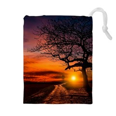 Lonely Tree Sunset Wallpaper Drawstring Pouch (XL)