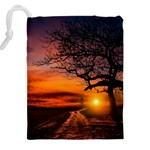 Lonely Tree Sunset Wallpaper Drawstring Pouch (XXL) Back