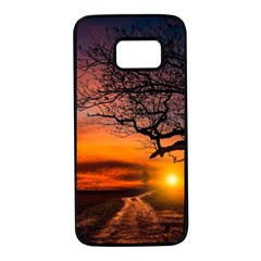Lonely Tree Sunset Wallpaper Samsung Galaxy S7 Black Seamless Case by Alisyart