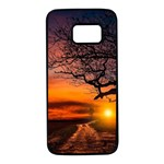 Lonely Tree Sunset Wallpaper Samsung Galaxy S7 Black Seamless Case Front