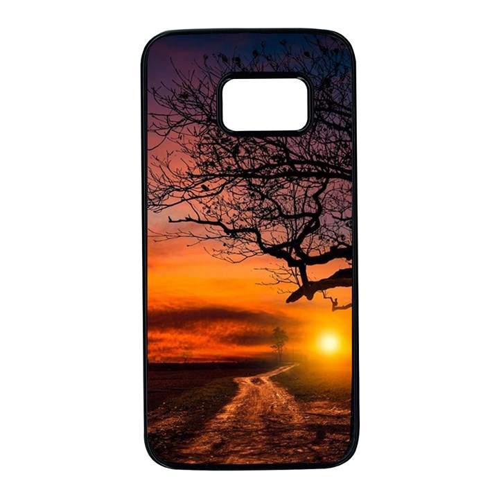 Lonely Tree Sunset Wallpaper Samsung Galaxy S7 Black Seamless Case