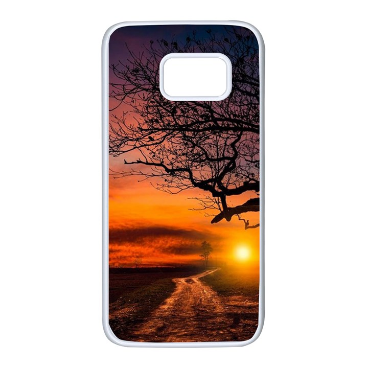 Lonely Tree Sunset Wallpaper Samsung Galaxy S7 White Seamless Case