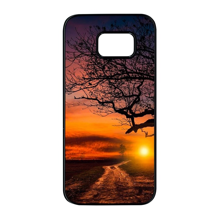 Lonely Tree Sunset Wallpaper Samsung Galaxy S7 edge Black Seamless Case