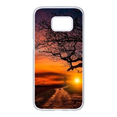 Lonely Tree Sunset Wallpaper Samsung Galaxy S7 Edge White Seamless Case by Alisyart