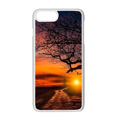 Lonely Tree Sunset Wallpaper Apple iPhone 7 Plus Seamless Case (White)