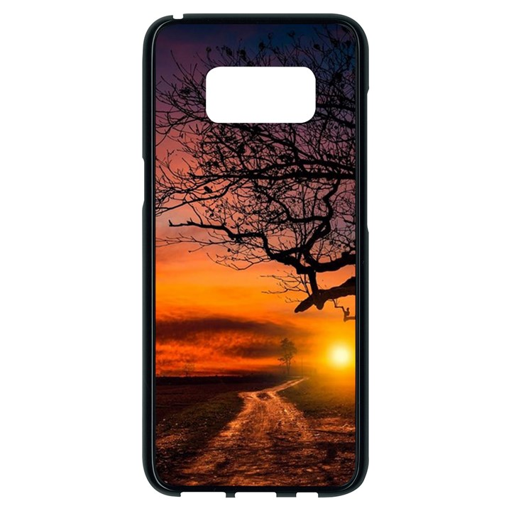 Lonely Tree Sunset Wallpaper Samsung Galaxy S8 Black Seamless Case