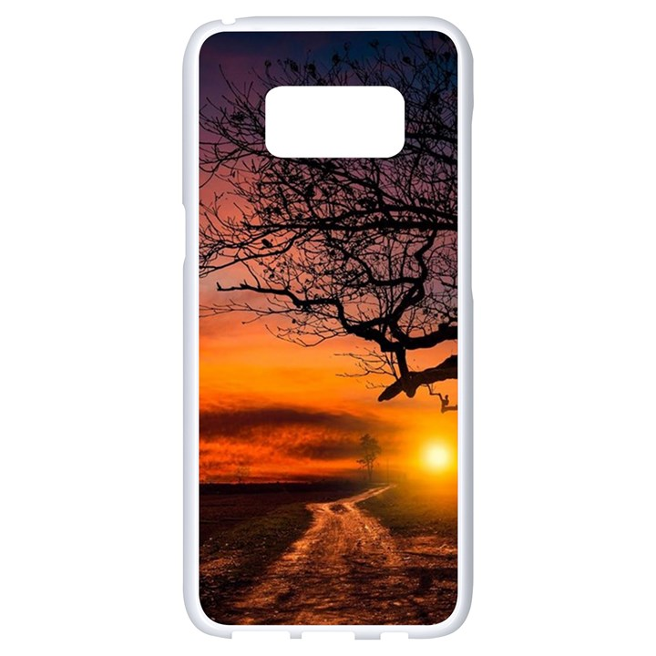 Lonely Tree Sunset Wallpaper Samsung Galaxy S8 White Seamless Case