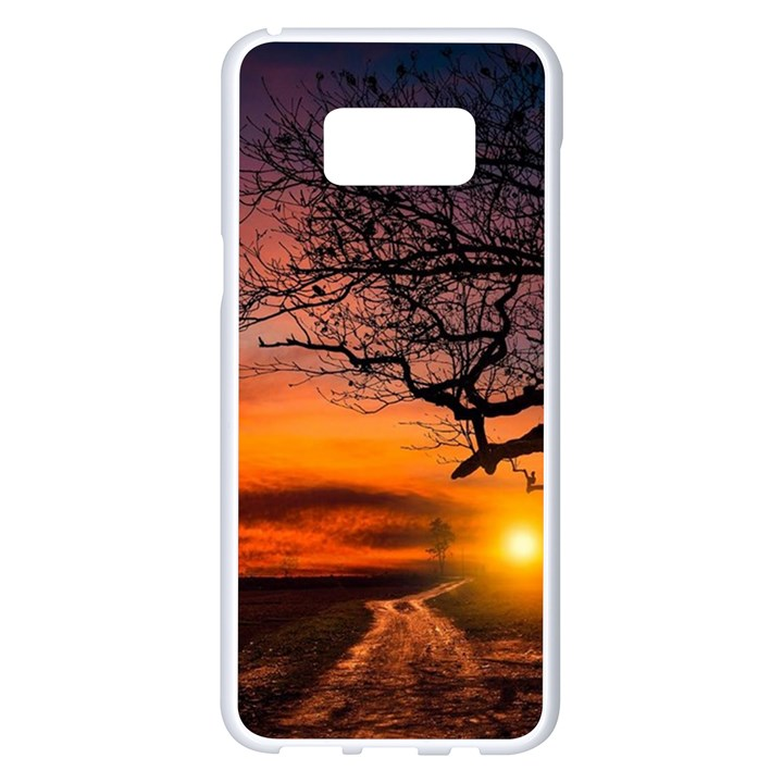 Lonely Tree Sunset Wallpaper Samsung Galaxy S8 Plus White Seamless Case