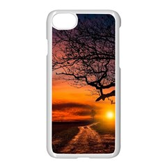 Lonely Tree Sunset Wallpaper Apple iPhone 8 Seamless Case (White)