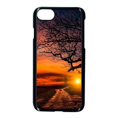 Lonely Tree Sunset Wallpaper Apple iPhone 8 Seamless Case (Black)