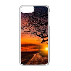 Lonely Tree Sunset Wallpaper Apple iPhone 8 Plus Seamless Case (White)