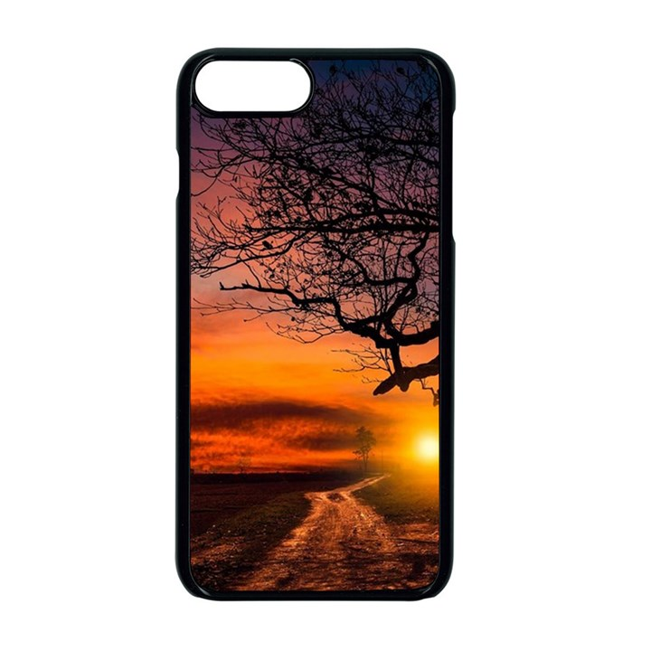 Lonely Tree Sunset Wallpaper Apple iPhone 8 Plus Seamless Case (Black)