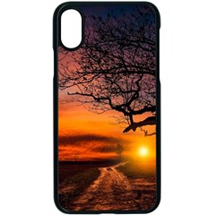 Lonely Tree Sunset Wallpaper Apple iPhone X Seamless Case (Black)