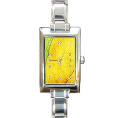 Green Yellow Leaf Texture Leaves Rectangle Italian Charm Watch