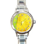 Green Yellow Leaf Texture Leaves Round Italian Charm Watch Front