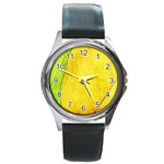 Green Yellow Leaf Texture Leaves Round Metal Watch Front